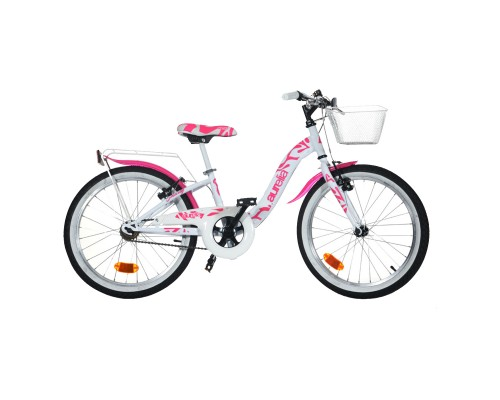 Bicicleta de paseo para niña Aurelia Dino 20 pulgadas Blanco